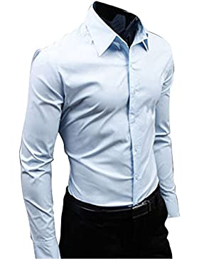 Quge Camicia Uomo Casual Maniche Lunghe Colore Solido Maglietta Shirt Semplice Slim Camicie