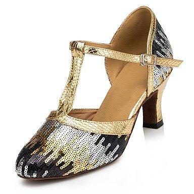 Silence @ Chaussures de danse pour femme moderne Paillettes Talon Bleu/doré bleu marine