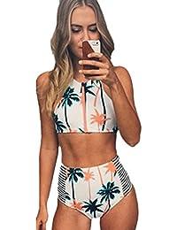 Coconut Tree Imprimer taille haute Bikini maillot de bain