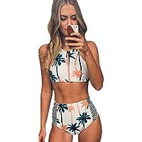 Blooming Jelly Femmes Coconut Tree Print haute taille bikini Set maillot de bain