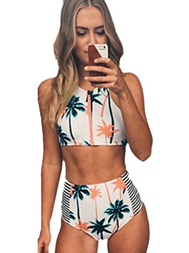 Blooming Jelly Women's Coconut Tree Print High Waist Bikini Set Bathing Suit
