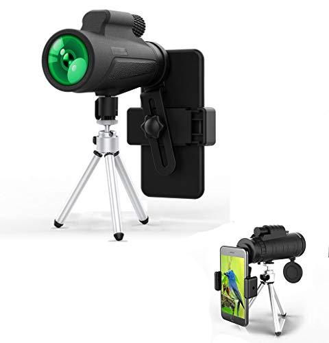 Telescopio monocular, QBody 12x50 monocular HD Zoom Monoculars Telescopio con teléfono y Adaptador...