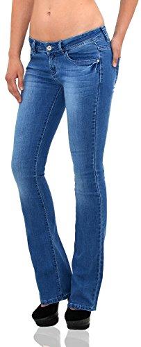 by-tex Damen Jeans Bootcut Jeanshose Damen Hüftjeans Jeans in vielen aktuellen Designs DD