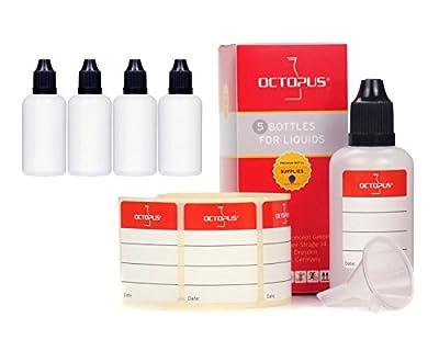 Octopus 50 ml Liquidflaschen + Etiketten, z.B. für E-Liquids + E-Zigaretten, Plastikflaschen aus PE LDPE, Liquid Dosierflaschen, Tropfflaschen bzw. Quetschflaschen + schwarze Deckel von Octopus Concept GmbH