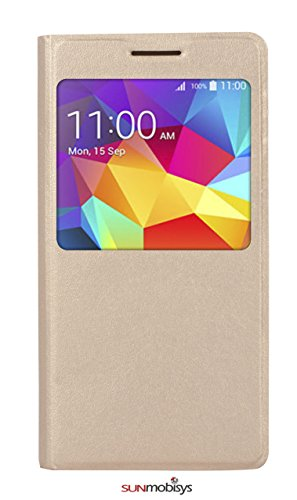 Sun Mobisys Call iD Flip Cover for Samsung Galaxy Grand Prime G530 Champagne Gold
