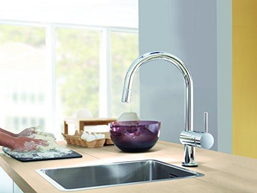 Grohe – Minta Küchenarmatur, Schwenkbereich 360°, herausziehbare Brause, C-Auslauf - 3