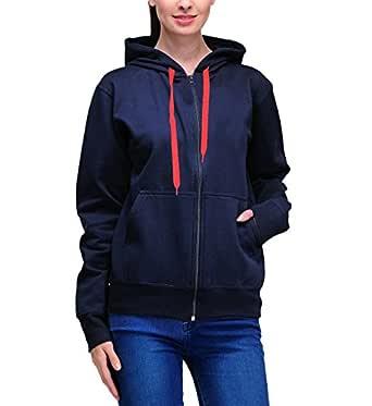 Scott International Women's Cotton Sweatshirt with Zip - Navy Blue - 1.1_lsslz9_S