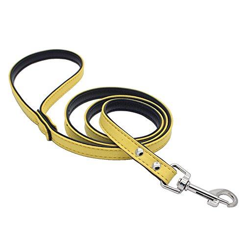 Faux-leder-snap (ALCYONEUS 120 cm Dog Leash Faux Leder PET Walking Schulung (Gelb))