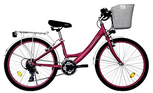 T&Y Trade 24 Zoll Kinder Mädchen Damen City Fahrrad Damenfahrrad Cityfahrrad Citybike Mädchenfahrrad Bike Rad 21 Gang 5100 PINK