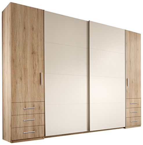 Stella Trading Store 4-türiger Kleiderschrank, Holz, san remo/weiß, 58 x 267 x 226 cm