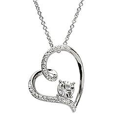 Idea Regalo - Argento ciondolo a forma di cuore tempestato di Swarovski® Crystal collana per le donne