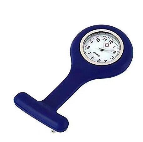 Liroyal Quartz Movement Nurse Brooch Fob Tunic Pocket Watch blue