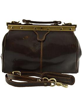 Leder Arzttasche, Mit überlappenden Eisscharniere Farbe Dunkelbraun - Italienische Lederwaren - Aktentasche