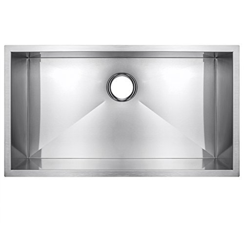 Golden Vantage GV-KS0056 Zero Radius Stainless Steel Handmade Undermount Single Bowl Basin Kitchen Sink, 30 x 18 x 9-Inches (16-gauge) by Golden Vantage - Bowl Single Kitchen Sink 16 Gauge