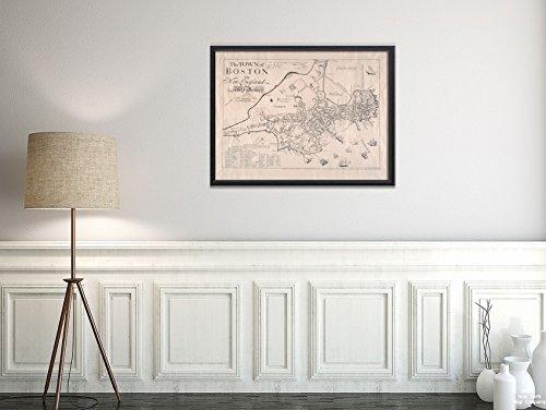New York Map Company  1835 Karte Boston The Town Boston in England Fotokopie. Bildkarte Relief abgebildeter Nachdruck, historischer Vintage-Stil, fertig zum Einrahmen