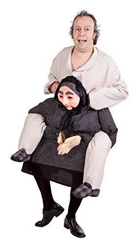 Oma trägt Mann Huckepack Kostüm für Erwachsene - Lustiges XL Aufsitzkostüm Fun Kostüm für Karneval oder Mottoparty