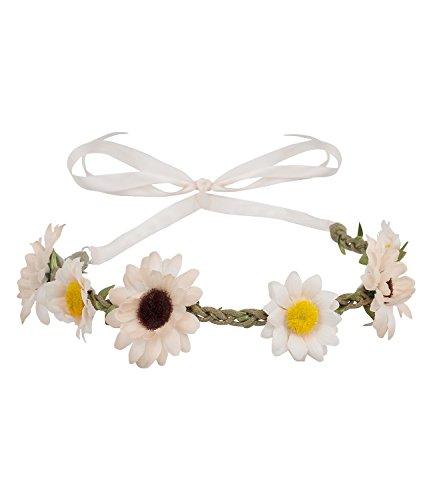 SIX SALE 'Blumen' Blumenkranz mit Blumen rosa und weiß mit geflochtenem braunem Band, Hippie...