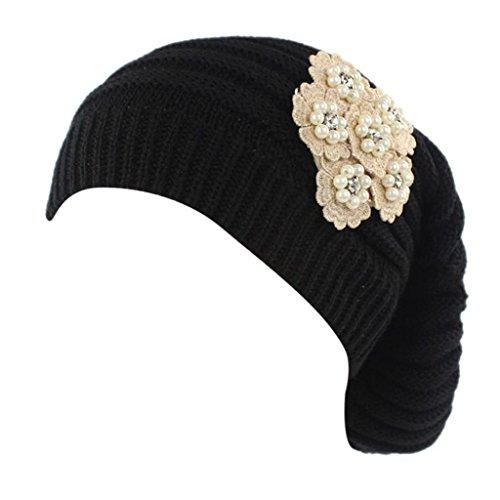 Cappello da Donna Lavorato a maglia da Donna,Yanhoo Cappellino per Berretto con Cappuccio Avvolgente Nero