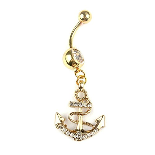 Pixnor Anker Dangle Bauchnabel Ringe Body Piercing Gold Sexy Bauchnabel Ringe - Bauchnabel-ringe Anker