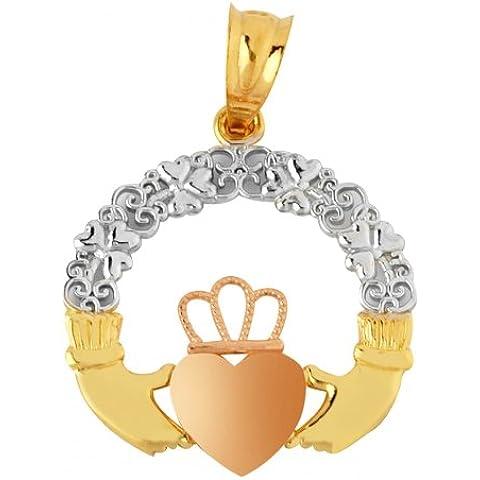 Piccoli Tesori - Collanae Pendente - - 14 ct Oro 585/1000 Claddagh Giallo Rosa - Rosa Claddagh Pendente