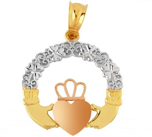 Piccoli Tesori - Collanae Pendente - 10 ct 471/1000 Oro Claddagh Giallo Rosa Collanae Pendente (viene con una Catena da 45 cm) - Rosa Claddagh Pendente