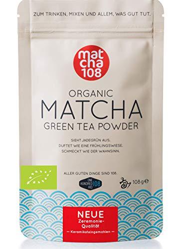 Matcha Tee Pulver 108 - Bio Zeremonie Qualität (für extra milden Teegenuss) - Ideal auch für Smoothies und Lattes - Zertifiziertes Grüntee Pulver [108g Ceremonial Grade Green Tea]