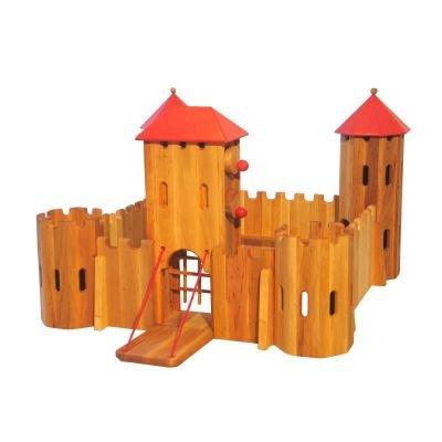 große Ritterburg Kastell Burg Massiv-Holz Dachfarbe rot, CLAMATEC ...gutes Spielzeug & mehr