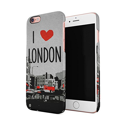 I Love London British Capital City Red Bus Dünne Rückschale aus Hartplastik für iPhone 6 & iPhone 6s Handy Hülle Schutzhülle Slim Fit Case cover (British Open Flag)