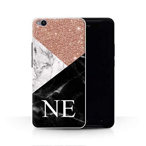 Stuff4® Personalisiert Individuell Roségold Glitter Marmor Hülle für HTC One X9 / Geometrisches Monogramm Design/Initiale/Name/Text Schutzhülle/Case/Etui