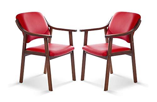 SUENOSZZZ - Pack de 2 Sillas Altea de Madera de Haya, Color Rojo. Sillas para Comedor/Salon/habitacion | Silla geriatrica | Silla Madera | Mueble para ...
