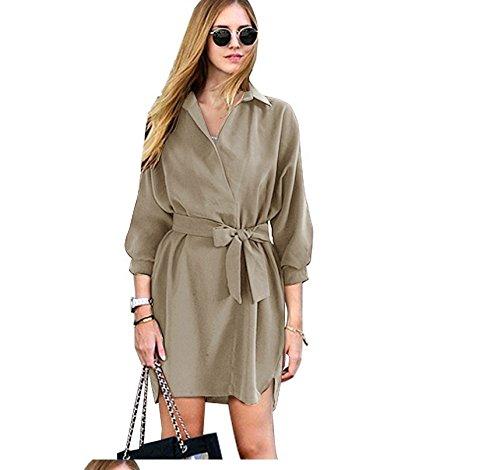 Xizi Frauen Rüschen lange Ärmel V-Ausschnitt Collect Taille Kleid Khaki (Kleinkind Grauen Anzug)