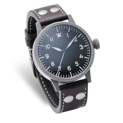 Laco 1925 Men's Mechanical Watch with Black Dial Analogue Display and Brown Leather Strap 861746