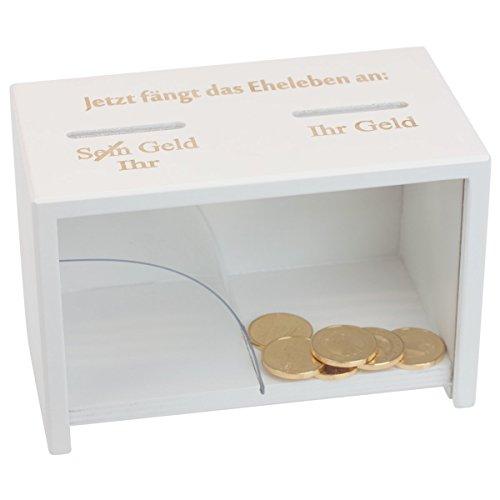 Geschenke 24: Spardose Hochzeit weiß Holz | Geldgeschenk zur Hochzeit ==> Geld rutscht immer nur zur Ehefrau | Lustiges Hochzeitsgeschenk (Spardose Eheleben)