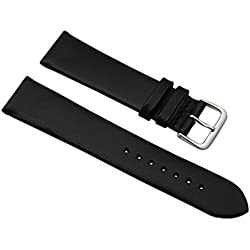 20mm Soft calf leather watch strap band in black with buckle in silver