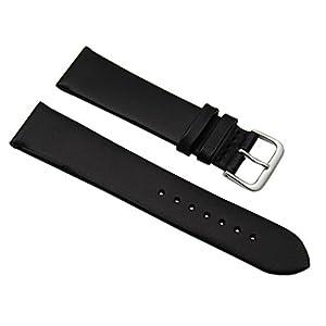 20mm Weiches Kalbsleder Uhrenarmband Schwarz Silberfarbende Dornschließe inkl. Myledershop Montageanleitung