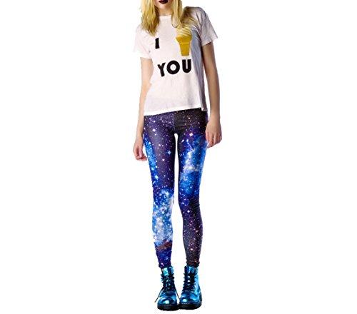 SOTW Frauen 'S Funky Digital Print Design Graphic Stretch Footless Fashion Leggings Gr. One Size, Blue Galaxy