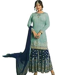 81e788248b Exotic India Icy-Morn Ayesha Pakistani Sharara Kameez Suit with Zari Embr -  Blue