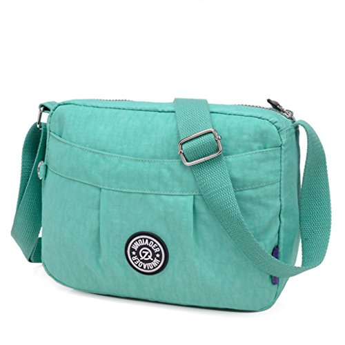 TianHengYi Small Water Resistant Women's Cross-body Shoulder Bag Lightweight Nylon Fabric Messenger Bag Green