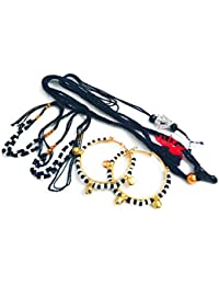 SMARNN Nazariya kada Bangles Bangle Gift Pack Combo for New born baby boy girl kid child jewellery with Om Locket,Kamarnband,kada set,black beads nazariya set (0-12 months)
