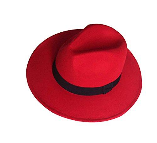 Helle rote britische Art-Hut Woll Die Weit Krempe (Rote Hut Cowboy)
