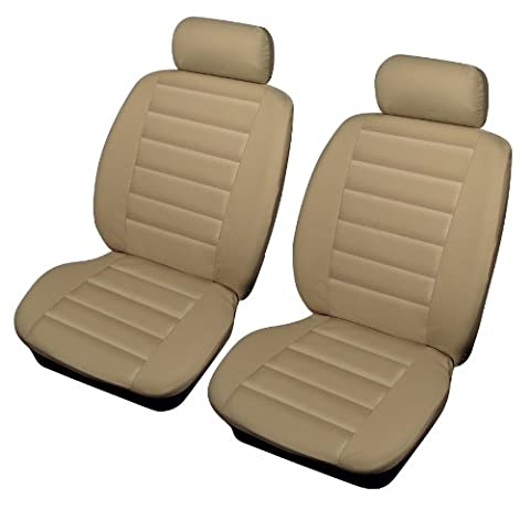 Cosmos Universal Size Beige Leather Look Front Car Seat Covers