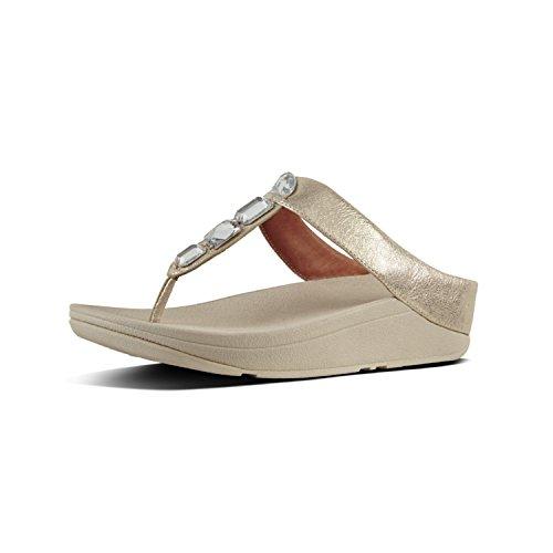 Fitflop Roka Tm Toe-Thong Sandals, Infradito Donna, Argento (Silver 011), 38 EU