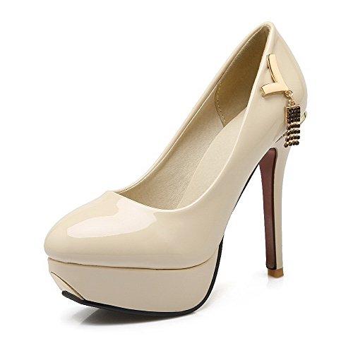AgooLar Femme Pu Cuir Mosaïque Tire Rond à Talon Haut Chaussures Légeres Beige