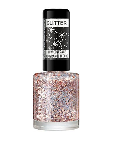 Rimmel London Glitter Nail Polish Top Coat, Disco Diva, 8 ml