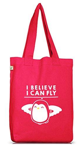 Lustiger Jutebeutel Stoffbeutel Earth Positive I Believe I Can Fly Hot Pink