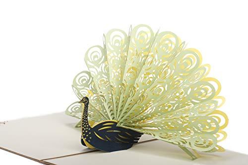 Liebsup 3D Peacock Pop Up Grußkarten Happy Birthday Karten mit Umschlägen für Geburtstag Brautjungfer Jahrestag Hochzeit Einladung Überraschungstag green peacock with retro cover