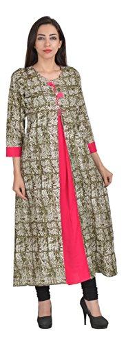Empezar Women's Cotton Achkan Kurta (ce-kurti-009--XXL, Green, XX-Large)