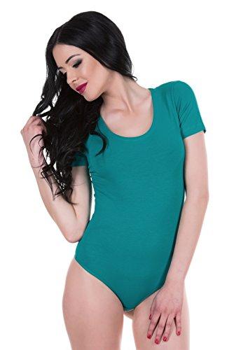 Evoni Damenbody | Damen Overall Bodysuit mit Rundhals | verschiedene Farben & Größen | kurze Ärmel | Verschluß-Haken | Unterzieh-Body optimale Passform | sportlicher Tanz-Body für Frauen Grün