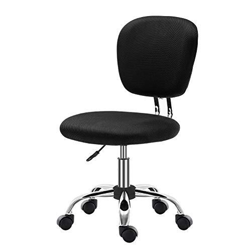 Bürostuhl mit mittlerer Rückenlehne, Netzstoff, ohne Armlehnen, ergonomisch schwarz