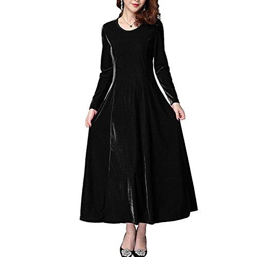 QQI Damen Lange Langarm Abendkleid Maxi Samt Party Kleid (Schwarz, Large/EU38) (Langen Samt Schwarzer Kleid)